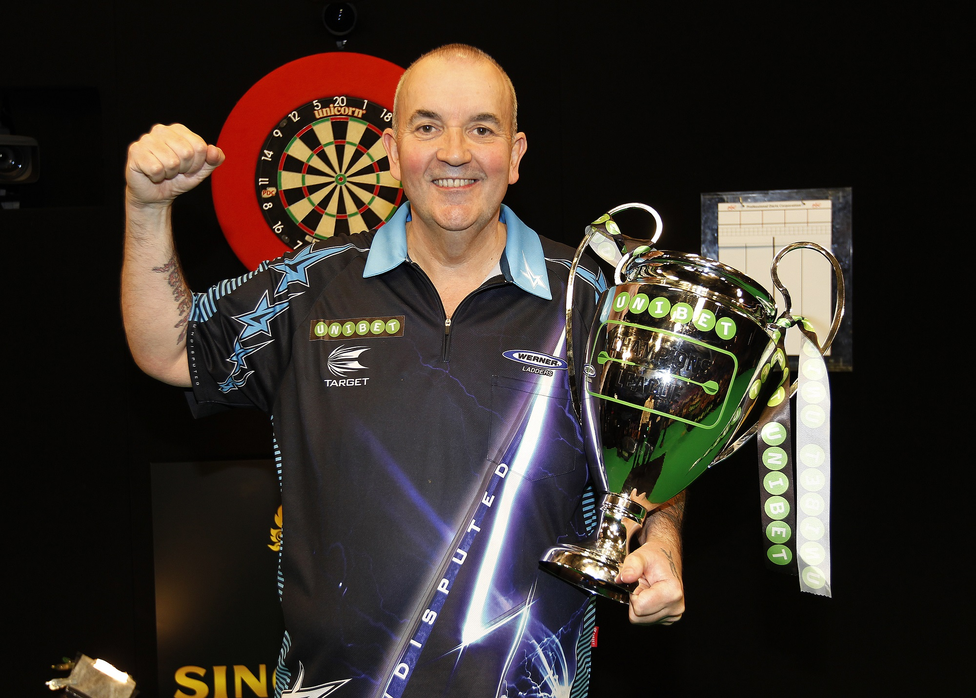 UNIBET CHAMPIONS LEAGUE OF DARTS MOTORPOINT ARENA,CARDIFF PIC;LAWRENCE LUSTIG FINAL MICHAEL VAN GERWEN v PHIL TAYLOR PHIL TAYLOR WINS