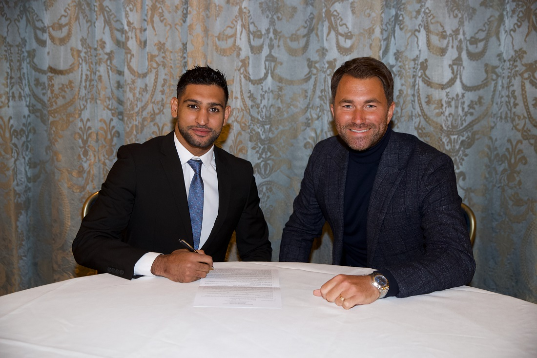 Amir Khan and Promoter Eddie Hearn at Todays Press Conference in London announcing Amir Signing with Matchroom Boxing. 10th January 2018. Picture By Mark Robinson.